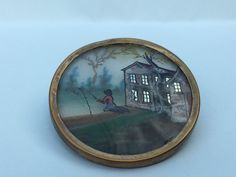 """GORGEOUS 18TH C. REVERSE PAINTING BUTTON - 1 1/2"""""""