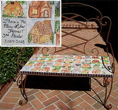Grade Bench There's No Place Like Home hand-painted ceramic tiles on cast iron bench