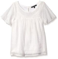 My Michelle Girls Big Short Sleeve Knit Top with Crossover Back and Lace Hemline Detail