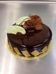 Dark chocolate glaze entremet with chocolate fans  #nlc #pastries #normanloveconfections