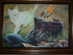Van kedisi yağlı boya çalışılmış bir eser