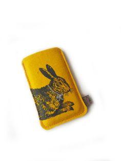 telefoon hoesje ,  geel vilt , konijn zeefdruk