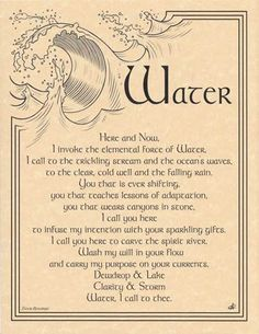 Elegantly worded by spiritual wordsmith Travis Bowman and vividly illustrated by Eliot Alexander, this parchment poster reference provides you with a wonderful invocation for the element of water. Use