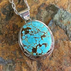 Number 8 Turquoise Sterling Silver Pendant