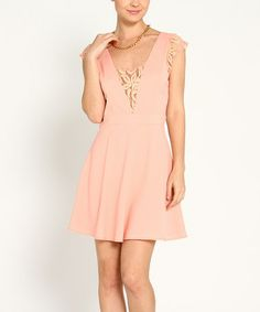 Another great find on #zulily! Blush Lace Cap-Sleeve Dress by Marineblu #zulilyfinds