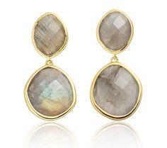 Medium Nugget Drop Earrings Gold with Labradorite - Monica Vinader