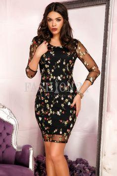 Diferentiaza-te alaturi de o rochie deosebita, precum modelul Maylee Black. Este neagra, cu broderie florala, cu decolteul rotund, manecile trei sferturi | 24. Cold Shoulder Dress, Bodycon Dress, Floral, Black, Dresses, Fashion, Vestidos, Embroidery, Moda