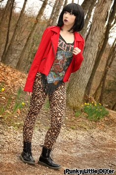 Leopard print leggings, red moto jacket, vintage band tee, combat boots, rock n roll outfit, black bob