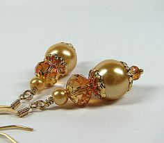 Swarovski Crystal and Pearl earrings in copper and gold acents - champagne beaded earrings