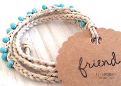 Turquoise Bead - Braided Hemp Friendship Bracelet w/ Hand-Stamped Friend Gift Tag
