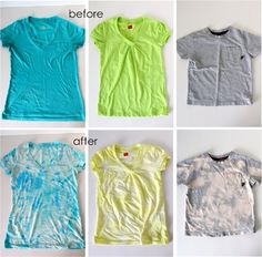 Acid-washed tees -DIY - so easy and so cute. Gives a new look to old tees Bleach Shirt Diy, Bleach Tie Dye, T Shirt Diy, How To Bleach Shirts, Tee Shirts, Sweat Shirt, Shirt Tutorial, Diy Tutorial, Tie Dye Tutorial