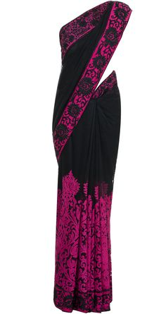 Black sari with applique work available only at Pernia's Pop-Up Shop.