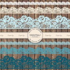 Premium Rose Lace Borders, Lace Border Clip Art, Digital Lace Scrapbook Borders, Lace Photo Overlays, Blue Lace Borders