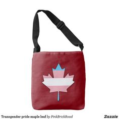 Transgender pride maple leaf tote bag