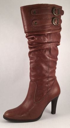 Matisse Leather Pull On Heels Buckle Slouchy Boots 6.5M #Matisse #MidCalfBoots #Casual