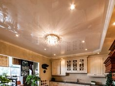 This beige stretch ceiling looks better together with special lighting. One Hundred Nine will make your kitchen a convenient and nice place to cook and to spend your time there.
