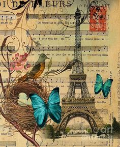 Vintage Botanical Art Butterfly Bird Nest Paris Eiffel Tower Greeting Card by Cranberry Sky