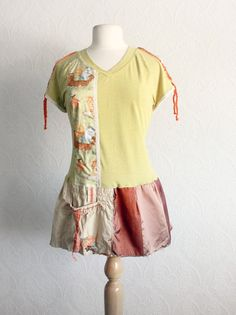 Kitty Cat Top Recycled TShirt Chartreuse by BrokenGhostClothing, $59.00