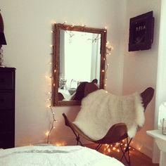 twinkle #butterfly #chair #mirror #bronze #stringlights #bedroom