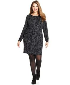 Charter Club Plus Size Merino Wool Leopard-Print Sweater Dress - Charter Club - Plus Sizes - Macy's