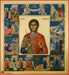 The icon of St. Phanourios is framed by smaller images of the saint enduring torments for the Faith Byzantine Icons, Byzantine Art, St Charbel, Roman Church, Picture Frame Decor, Orthodox Icons, Renaissance Art, Religious Art, Religious Icons