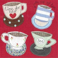 4362 - four teacups card - Size Card 15cm x 15cm.Material Our stationary range is printed on high quality card and comes with either red or brown kraft envelopes.Design detail Blank on the inside for your own message.