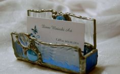 Stained Glass Business Card Holder Clear Textured by DianeMarieArt, $22.00