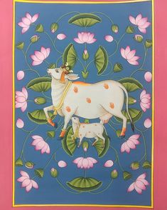 Paying tribute to Kamdhenu (the sacred cow), the iconic symbol of wealth and prosperity in Hinduism. This modern traditional Pichwai is… Bull Painting, Lotus Painting, Dot Art Painting, Painting Tips, Watercolor Painting, Pichwai Paintings, Indian Art Paintings, Modern Art Paintings, Abstract Paintings