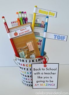Back to School: Teacher gift idea + Free Printable's  ALL from the Target Dollar Spot www.celebrateindetail.com