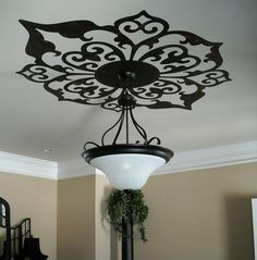 painted ceiling medallion stencil - Google Search