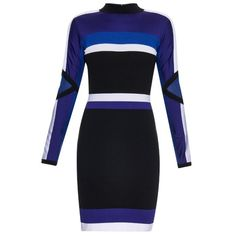 Versace Colour Block Long Sleeved Dress ($569) ❤ liked on Polyvore featuring dresses, long sleeve dress, colorblock dress, color block dress, longsleeve dress and block print dresses