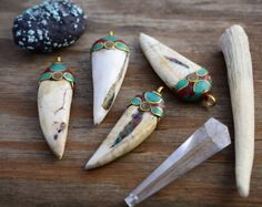 Nepalese Conch Shell Tusk with Brass Turquoise and by NatureBeads