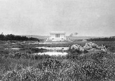 Marshland in front of the Lincoln Memorial, near the Potomac River, in 1917. Work is underway to turn this site into the 2,000-foot-long reflecting pool.