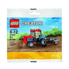 Climb aboard the bright-red LEGO Creator Tractor featuring rugged deep tread tires opening hood yellow beacon and a trailer plough....
