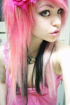 hairstyle, women, pink, punk, long