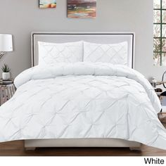 classic and chic pintuck pinch pleated 3piece comforter set
