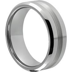 8mm Tungsten Wedding Band With Brushed Inlay, Tungsten Rings, 8mm Wedding Band…