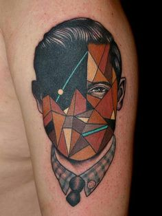 Lowpoly geo tattoo face