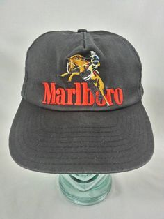 f5823b49757 Marlboro Man Cowboy Snapback Hat Cigarette Black Vintage 90s