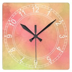 Pink and YellowWatercolours Square/Round Clock