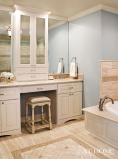 Design by Krista Lewis, K. Lewis Design, Photography by Nancy Nolan for At Home in Arkansas.  Master Bathroom