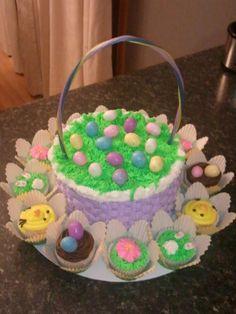 Easter basket cake food pinterest cake food cakes and easter basket cake cupcakes negle Images