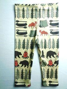 Sweet Kiddo camping leggings, organic cotton, hipster kids, modern leggings