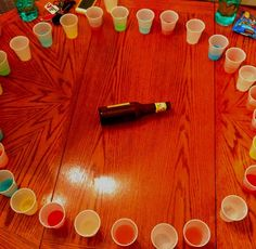 Spin the bottle: WE SHOULD DO THIS! every pours random drinks into cups, some mixed with different drinks, some just pure soda, and you have to drink whatever it points at