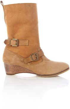 Vanessa Bruno Athé Brown Camel Shearling Biker Ankle Boot