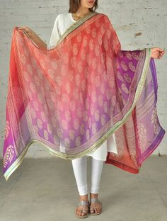 Plum-Coral Kota Silk Dupatta with Border New Wedding Dress Indian, Wedding Dresses, India Fashion, Ethnic Fashion, Mayon Dresses, Lehenga, Saree, Kurti Designs Party Wear, Ethnic Dress
