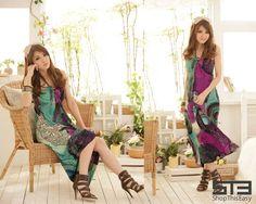 Lacy Circle Pattern Maxi Dress - ShopThisEasy.com