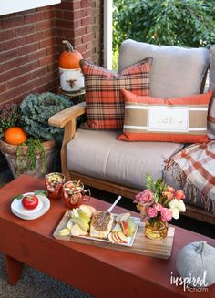 Fall Patio / Porch Decorating Ideas with beautiful pillows found at @HomeGoods! Home Tour via @Michael Wurm Jr. | Inspired by Charm *sponsored pin* // Fall Entertaining-Around-My-House Tour | inspiredbycharm.com