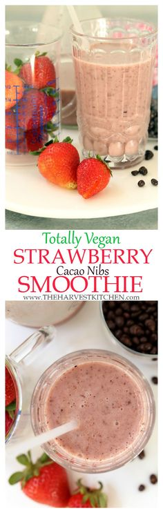 his Vegan Strawberry Cacao Nibs Smoothie is rich and creamy and tastes as decadent as dessert. | healthy recipes | | vegan smoothie recipes | | clean eating |