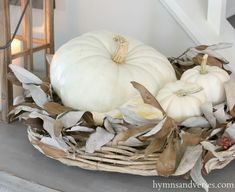 2015 Fall Home Tour... white pumpkins, wood wreath, dried leaves/branches.